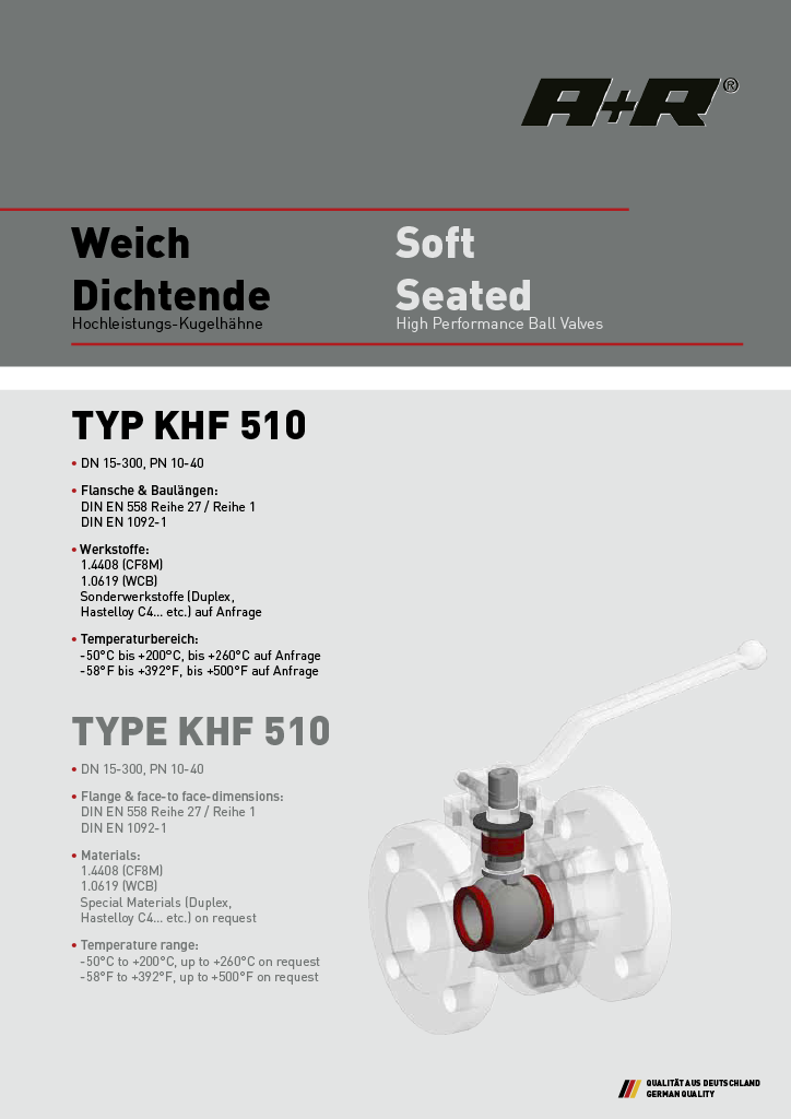 A+R Armaturen KHF 510 Soft Seated DIN Datasheet