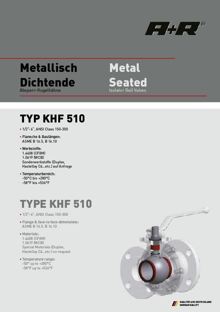 A+R Armaturen KHF 510 Metal Seated ANSI Datasheet