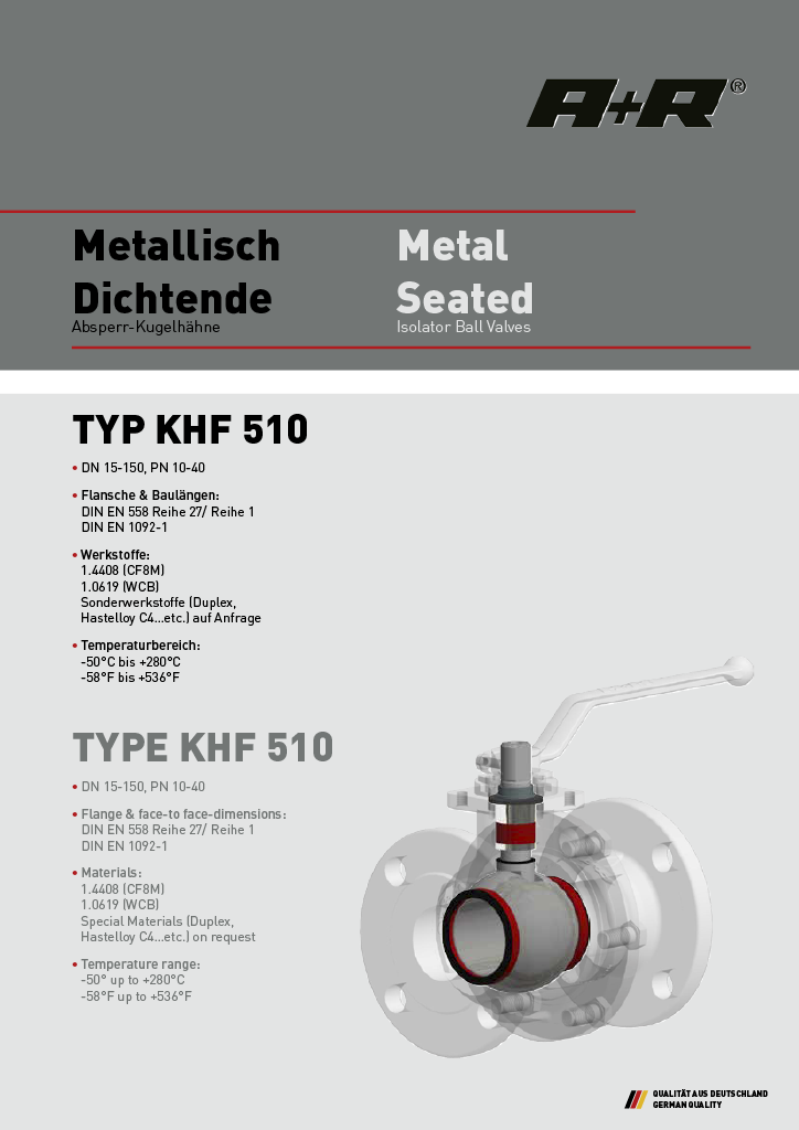 A+R Armaturen KHF 510 Metal Seated DIN Datasheet