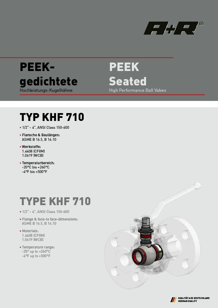 A+R Armaturen KHF 710 PEEK Seated ANSI Datasheet