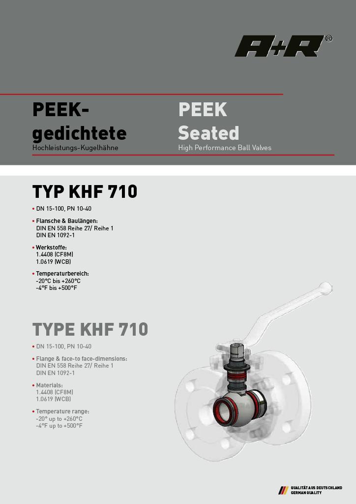 A+R Armaturen KHF 710 PEEK Seated DIN Datasheet
