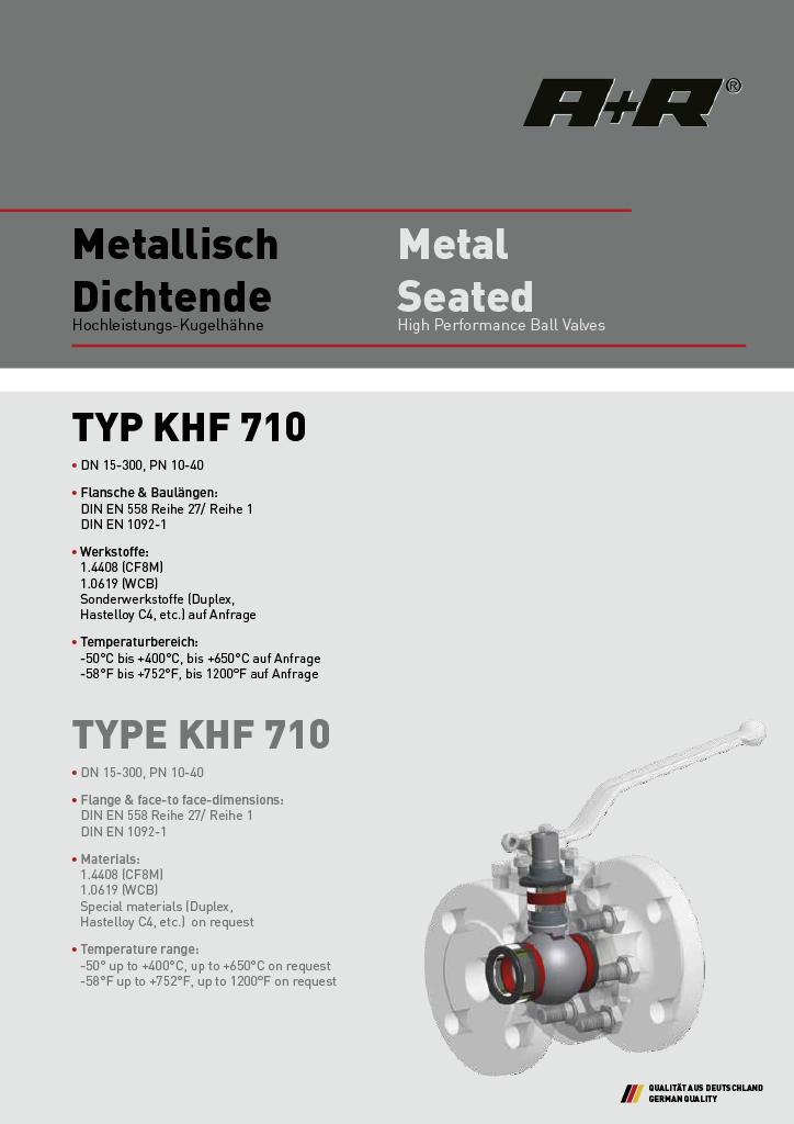 A+R Armaturen KHF 710 Metal Seated ANSI Datasheet