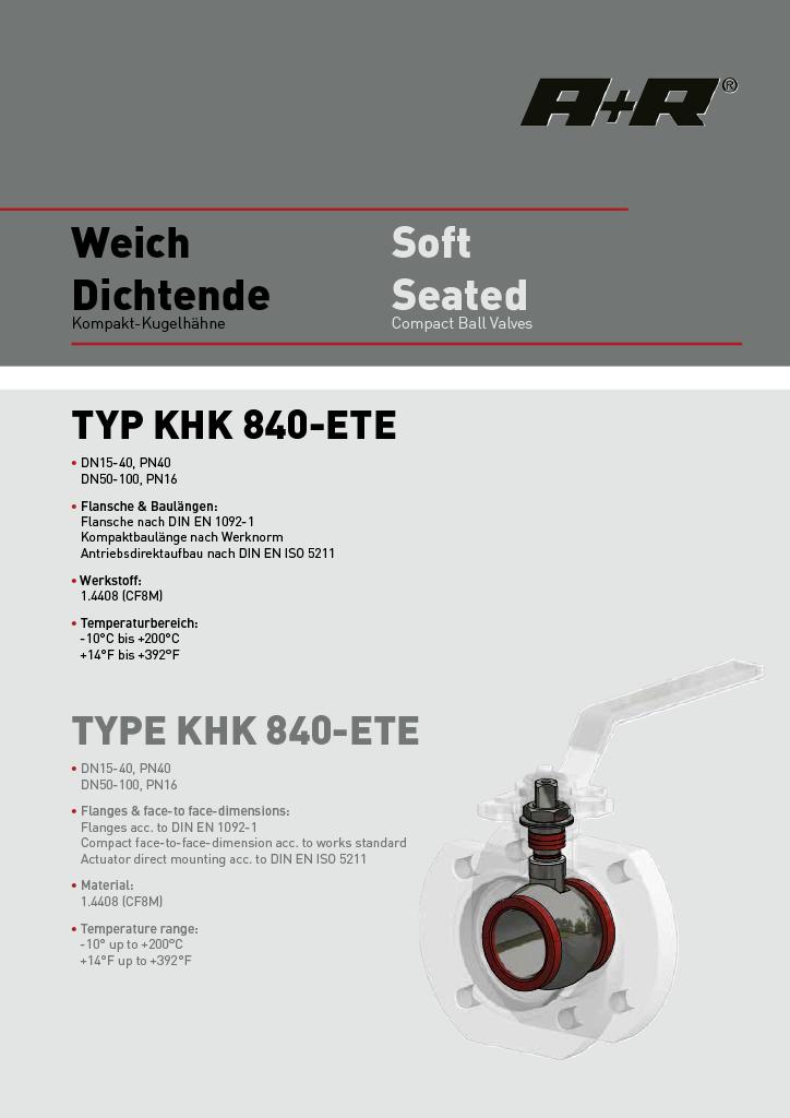 A+R Armaturen KHK 840 Datasheet