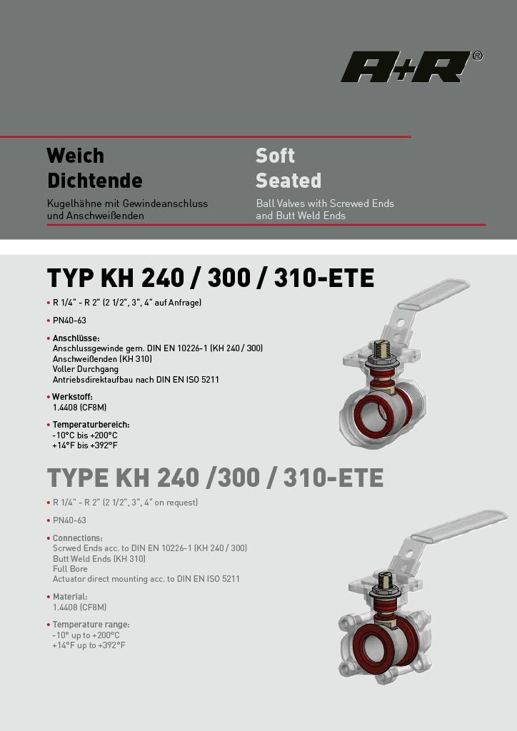 A+R Armaturen KH 240-310 Soft Seated Datasheet