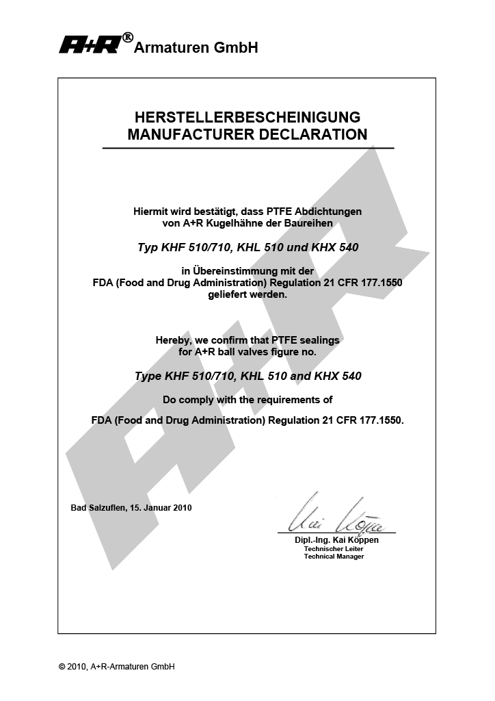 A+R Armaturen FDA Declaration